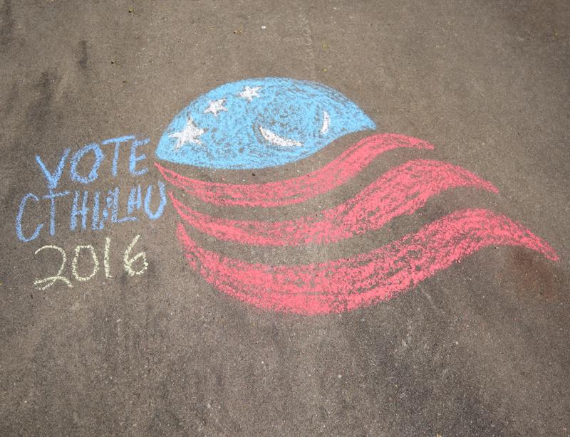Newport Cthulhu for America chalk logo