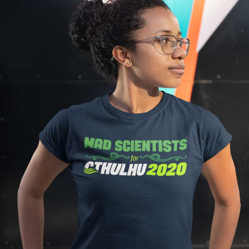 Female wearing a Mad Scientists for Cthulhu 2020 T-Shirt